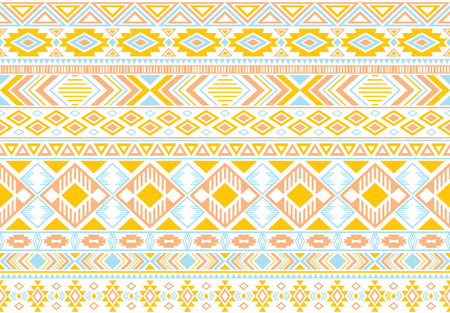 Sacral tribal ethnic motifs geometric seamless background. Eclectic gypsy tribal motifs clothing fabric textile print traditional design with triangles Illustration