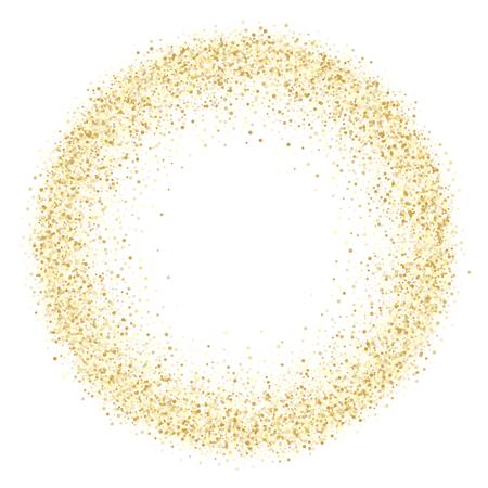 Gold sparkles glitter dust metallic confetti vector background. Stylish golden sparkling background. Gold stardust texture tinsel confetti party vector. Fashion glitter festive sparkles design