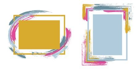 Marcos de anuncios con trazos de pincel conjunto de vectores. Bordes de caja con fondos de pinceladas pintadas. Diseño de gráficos educativos plantillas de marco plano para pancartas, folletos, carteles, tarjetas.