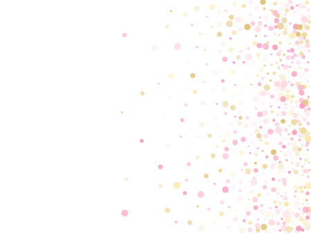 Rose gold confetti circle decoration for Valentine card background. Holiday vector pattern. Gold, pink and rose color round confetti dots, circles chaotic scatter. Decorative bokeh background.