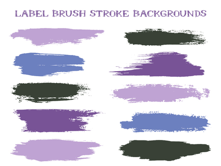 Grunge label brush stroke backgrounds, paint or ink smudges vector for tags and stamps design. Painted label backgrounds patch. Interior paint color palette samples. Ink dabs, violet blue splashes.