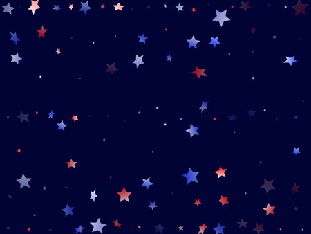 American Memorial Day stars background. Holiday confetti in US flag colors for President Day.  Minimal red blue white stars on dark American patriotic vector. 4th of July stardust scatter. 矢量图像