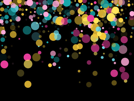 Memphis round confetti trendy background in blue, pink and gold on black.  Childish pattern vector, children's party birthday celebration background.  Holiday confetti circles in memphis style.