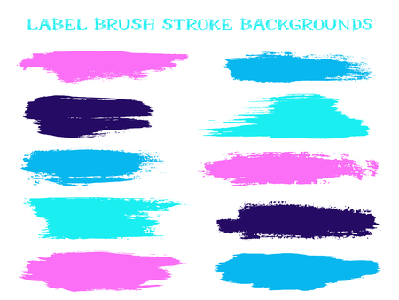 Hipster label brush stroke backgrounds, paint or ink smudges vector for tags and stamps design. Painted label backgrounds patch. Interior colors scheme elements. Ink smudges, stains, pink blue spots.
