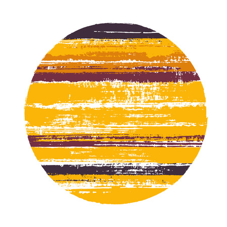 Rough circle vector geometric shape with stripes texture of paint horizontal lines. Planet concept with old paint texture. Label round shape circle logo element with grunge stripes background. Illustration