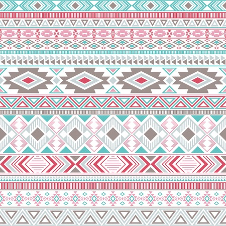 Aztec american indian pattern tribal ethnic motifs geometric seamless background. Beautiful native american tribal motifs textile print ethnic traditional design. Mexican folk fashion.