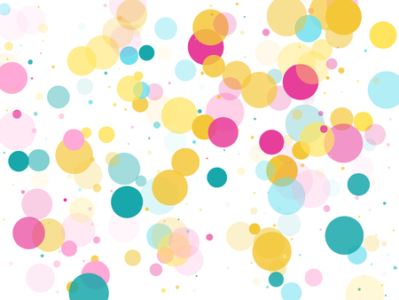 Memphis round confetti airy background in blue, crimson and gold on white.  Childish pattern vector, children's party birthday celebration background.  Holiday confetti circles in memphis style. Illustration