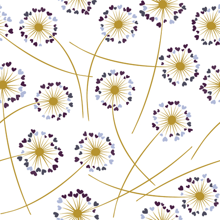 Dandelion blowing plant vector floral seamless pattern. Lovely flowers with heart shaped fluff flying. Dandelion herbs meadow flowers floral background design. Meadow blossom with hearts petals.