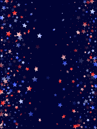 American Patriot Day stars background. Confetti in USA flag colors for Independence Day.  Stylish red blue white stars on dark American patriotic vector. 4th of July holiday stardust.