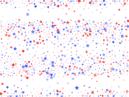 American Independence Day stars background. Confetti in USA flag colors for Independence Day.  Poster red blue white stars on white American patriotic vector. 4th of July stardust scatter. 矢量图像