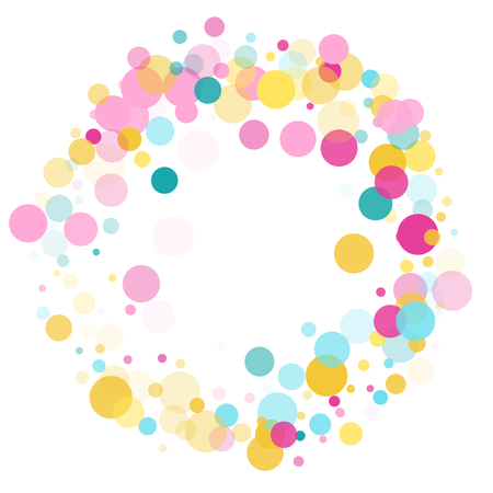 Memphis round confetti modern background in cayn, pink and yellow on white.  Childish pattern vector, children's party birthday celebration background.  Holiday confetti circles in memphis style. Иллюстрация