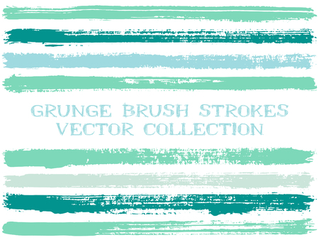 Long ink brush strokes isolated design elements. Set of paint lines. Urban stripes, textured paintbrush stroke shapes. Ink brush stripes isolated on white, vector wall paint samples set. Illustration
