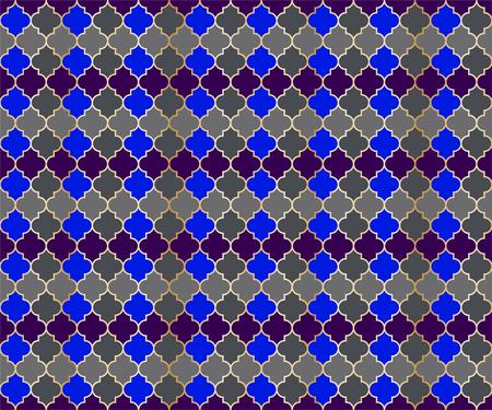 Moroccan Mosque Window Vector Seamless Pattern. Ramadan mubarak muslim background. Traditional ramadan mosque pattern in gold grid borders. Chic islamic window grid design of lantern shapes tiles.