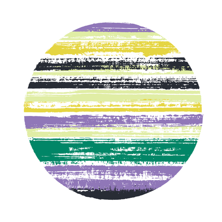 Modern circle vector geometric shape with striped texture of ink horizontal lines. Old paint texture disc. Label round shape logotype circle with grunge background of stripes.