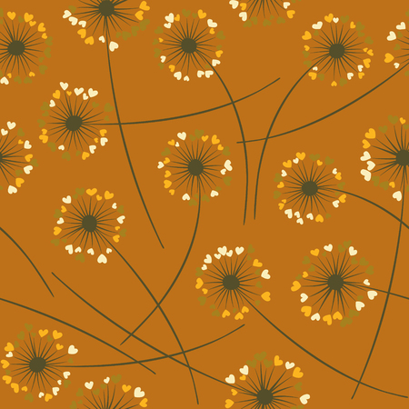Cute dandelion blowing vector floral seamless pattern. Spring flowers with heart shaped fluff flying. Dandelion herbs meadow flowers floral background design. Meadow blossom textile print graphics.