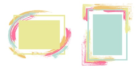 Watercolor frames with paint brush strokes vector collection. Box borders with painted brushstrokes backgrounds. Advertising graphics design flat frame templates for banners, flyers, posters, cards.