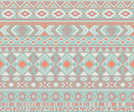 Navajo american indian pattern tribal ethnic motifs geometric seamless background. Beautiful native american tribal motifs textile print ethnic traditional design. Navajo symbols fabric pattern. Ilustrace
