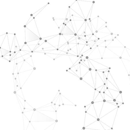 Koncepcja technologii globalnej sieci łańcucha bloków. Węzły sieci w skali szarości tła splotu. Siatka sieciowa punktów węzłowych, macierz linii. Wektor łańcucha bloków globalnej wymiany danych. Grafika analizy informacji.
