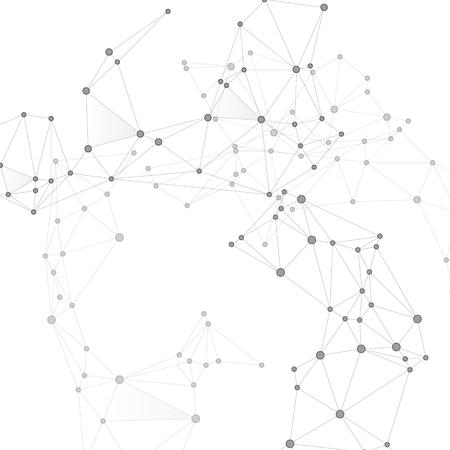 Konzept der globalen Netzwerktechnologie der Blockchain. Graustufen-Plexus-Hintergrund der Netzwerkknoten. Netzraster von Knotenpunkten, Linienmatrix. Globaler Datenaustausch-Blockchain-Vektor. Grafiken zur Informationsanalyse.