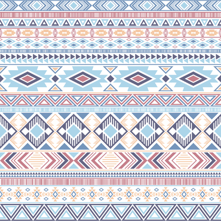 Aztec american indian pattern tribal ethnic motifs geometric vector background. Doodle native american tribal motifs clothing fabric ethnic traditional design. Aztec symbol fabric print. Ilustrace