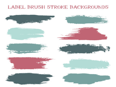 Hipster label brush stroke backgrounds, paint or ink smudges vector for tags and stamps design. Painted label backgrounds patch. Color combinations catalog elements. Ink smudges, stains, teal spots. Illustration