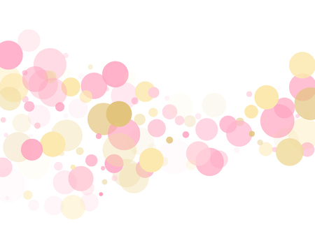 Rose gold confetti circle decoration for Christmas card background. Birthday vector illustration. Gold, pink and rose color round confetti dots, circles scatter on white. Festive bokeh background.