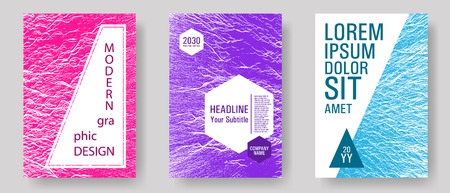 Brochure layout design templates. Teal pink purple waves texture backdrops. Advertising banner or covers. Buzzing flux ripple movement background. Business brochure vector cover layouts set.