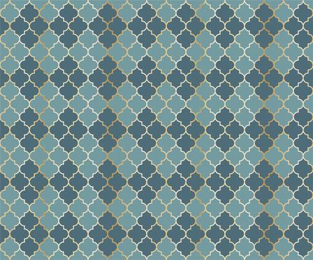 Pakistani Mosque Vector Seamless Pattern. Argyle rhombus muslim fabric background. Traditional mosque pattern with gold grid. Cool islamic argyle seamless design of lantern lattice shape tiles.