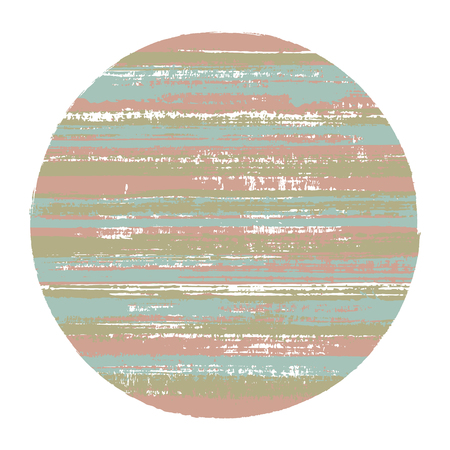Circle vector geometric shape with striped texture of watercolor horizontal lines. Planet concept with old paint texture. Badge round shape circle logo element with grunge background of stripes.