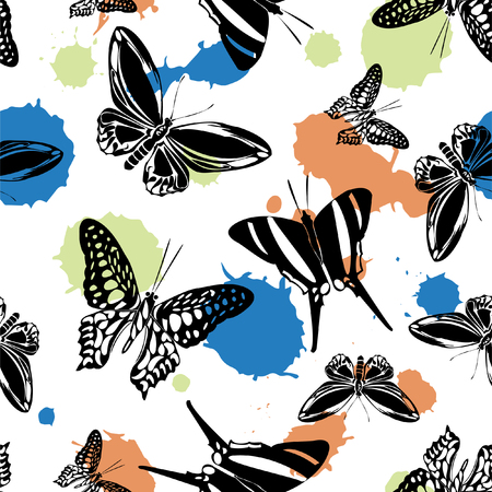 Colorful seamless butterfly kite pattern with blotter on white. Nature butterfly hover theme vector. Repeating insect soar clipart for interior.