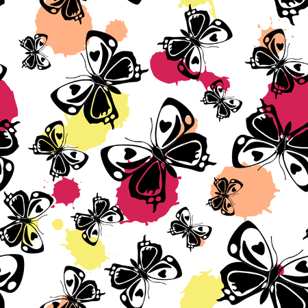 Cute seamless butterfly cloth pattern with blotter on white. Season butterfly linen theme vector. Repeating insect fabric backdrop for textile.