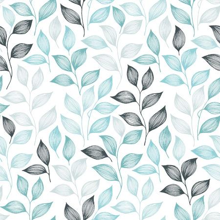 Packaging foglie di tè modello vettore senza soluzione di continuità. Il cespuglio minimo della pianta del tè lascia il disegno floreale del tessuto. Reticolo senza giunte abbozzato a base di erbe con elementi della natura. Carta da parati colorata con fogliame estivo.