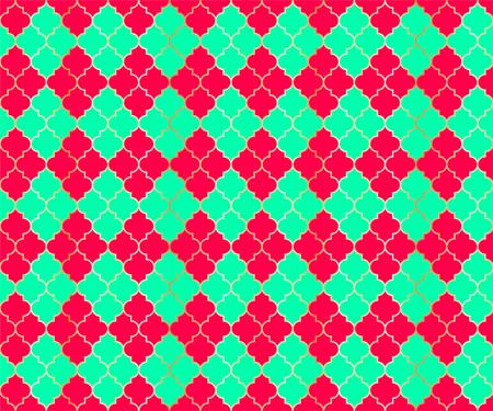 Middle East Mosque Vector Seamless Pattern. Argyle rhombus muslim textile background. Traditional ramadan pattern with gold grid. Rich islamic argyle seamless design of lantern lattice shape tiles. 向量圖像