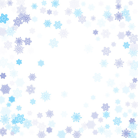 Blue transparent paper snowflakes flying vector winter background. Modern stylized falling and flying airy paper snow flakes on white. Winter seasonal snowflakes conceptual ice crystals.
