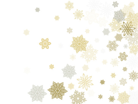 Gold silver paper snowflakes flying vector winter background. Flat stylized falling and flying airy paper snow flakes. Winter seasonal december weather snowflakes ice crystals. Illustration