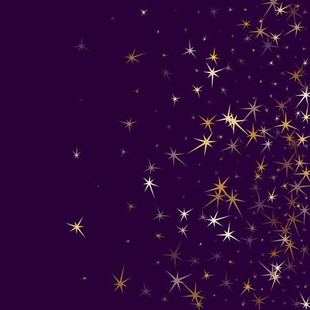 Confettis d'étoiles d'or sur violet. Fond de vecteur de guirlandes métalliques géométriques. L'étoile magique scintille en toile de fond de vacances. Le Nouvel An célèbre la conception graphique de la décoration.