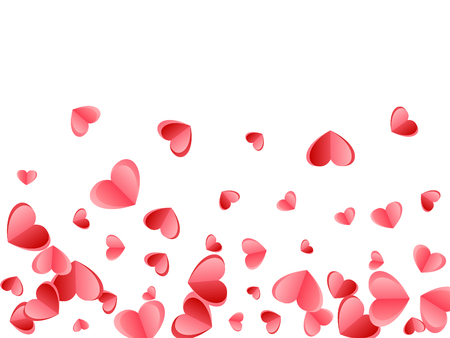 Heart confetti flying on white background. Wedding card vector backdrop. Red and crimson folded paper hearts. Sweet love symbols. Elegant flying confetti print design.