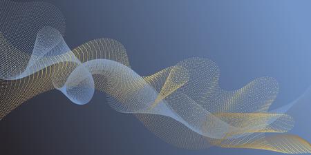 Fiber lines geometric simple background. Contemporary vector graphics with bent waves. Uneven curl lines ripple texture design. Gradient curves flow effect illusion fancy background. Ilustração
