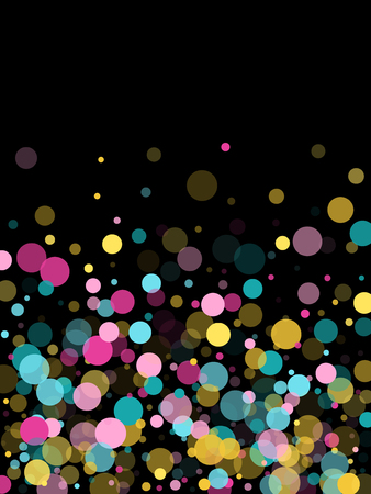 Memphis round confetti retro background in cayn, pink and yellow on black.  Childish pattern vector, children's party birthday celebration background.  Holiday confetti circles in memphis style. Illustration