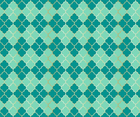 Ottoman Mosque Vector Seamless Pattern. Argyle rhombus muslim textile background. Traditional mosque pattern with gold grid. Rich islamic argyle seamless design of lantern lattice shape tiles.