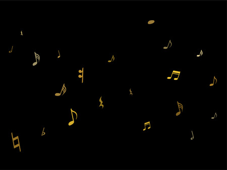 Gold flying musical notes isolated on black backdrop. Metallic musical notation symphony signs, notes for sound and tune music. Vector symbols for melody recording, prints and back layers. 向量圖像
