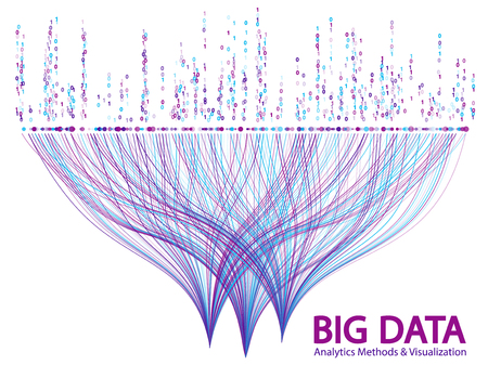 Big data statistical analysis visualization concept vector design. 0 and 1 binary information data visualization. Big number of curve lines and points structure for analysis. 矢量图像