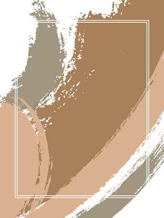 Cornice verticale con sfondo di tratti di pennello. Modello strutturato per carta. Cornice rettangolare con bordo vettoriale con sfondo di pennellate di inchiostro colorato dipinto, struttura dell'acquerello. Vettoriali