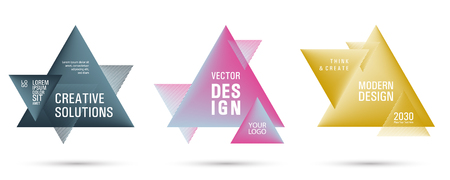 Gradient color triangle banners with halftone patterns on white background. Vector triangular geometric gradient shapes overlap banners set design. Abstract shapes composition. Triangle templates.