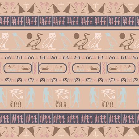 Cool egyptian motifs seamless vector. Ethnic hieroglyph symbols grid. Repeating ethnical fashion vector for ceramic tile.