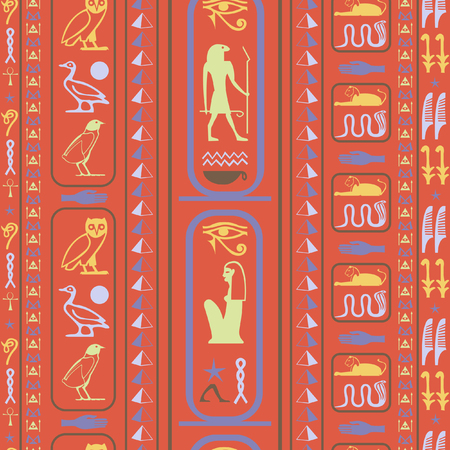 Cool egypt writing seamless vector. Hieroglyphic egyptian language symbols tile. Repeating ethnical fashion background for wallpaper.