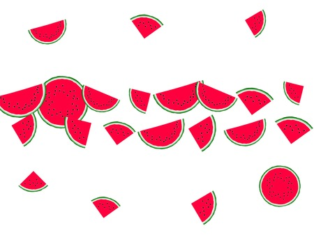 Sweet watermelon slice vector print illustration. Natural food element for summer diet. Cartoon red and green water melon fruit. Vector dessert nutrition watermelon berry.  イラスト・ベクター素材