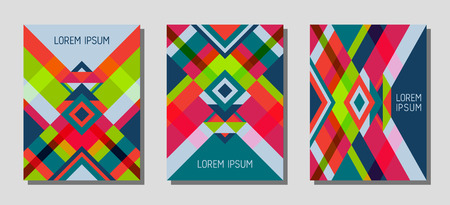 Collection of cover page layouts, vector templates geometric design with triangles and stripes. Festive brazilian motifs. Bauhaus pattern vector covers design. Minimal rhombus stripe triangle shapes.