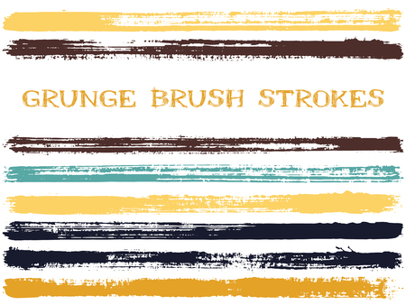 Gold black ink brush strokes isolated design elements. Set of paint lines. Messy stripes, textured paintbrush stroke shapes. Collection of ink brushes, stripes isolated on white, vector paint samples.
