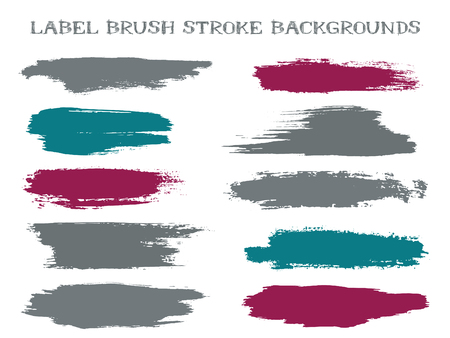 Colorful label brush stroke backgrounds, paint or ink smudges vector for tags and stamps design. Painted label backgrounds patch. Interior colors guide book swatches. Ink smudges, grey teal spots.